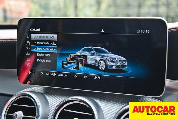 Mercedes-AMG C 43 instrument cluster design selection screen