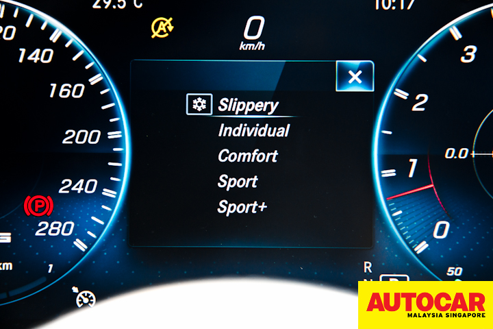 Mercedes-AMG C 43 COMAND drive mode menu on instrument cluster