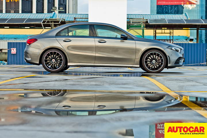 An image of the Mercedes-Benz A250 Sedan AMG Line side profile