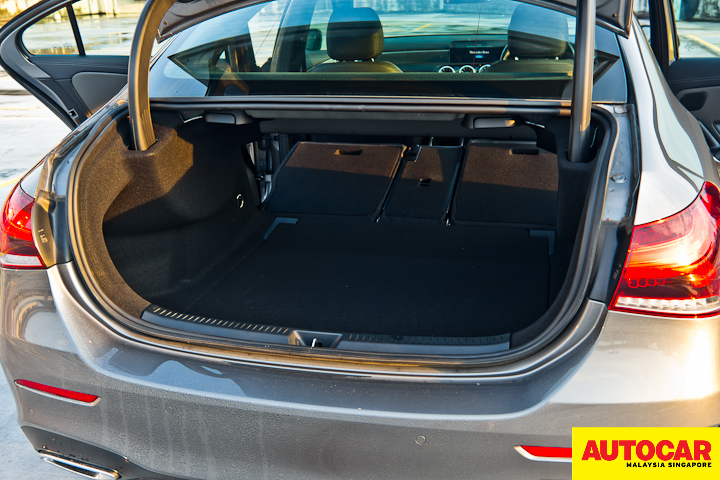 An image of the Mercedes-Benz A250 Sedan AMG 420-litre boot space with seats folded down