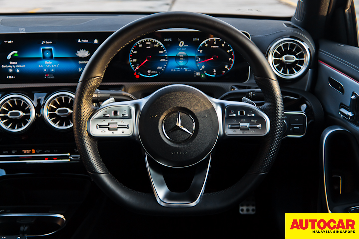 An image of the Mercedes-Benz A250 Sedan AMG Line multi-function sports steering wheel