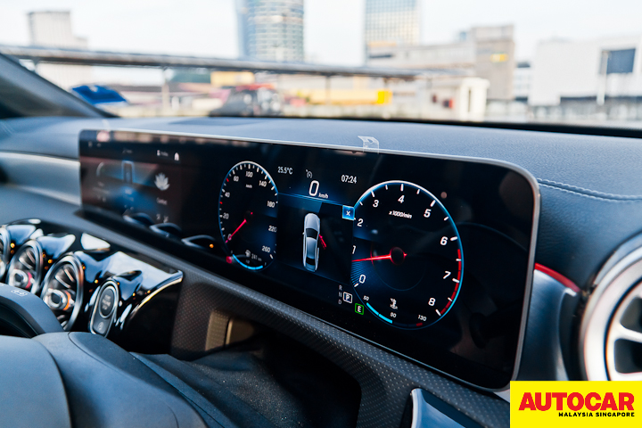 An image of the Mercedes-Benz A250 Sedan AMG Line two 10.25-inch screens
