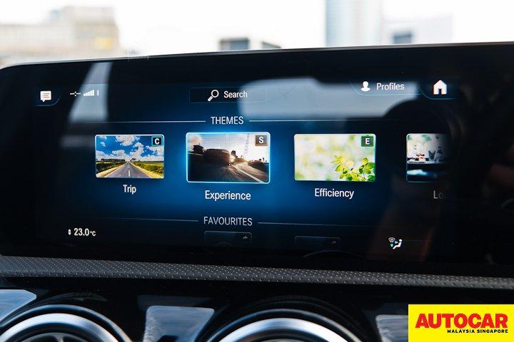 An image of the Mercedes-Benz A250 Sedan AMG infotainment Themes menu