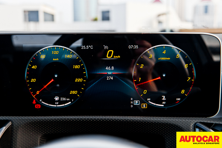 An image of the Mercedes-Benz A250 Sedan AMG digital instrument cluster in Experience theme