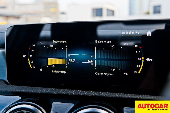 An image of the Mercedes-Benz A250 Sedan AMG Line engine performance gauges